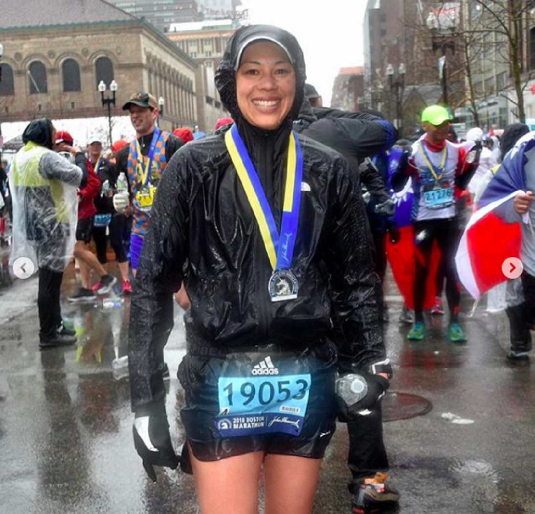 Fuelbelt ambassador Keri after completing the 2018 Boston Marathon.